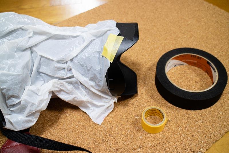 マスキングテープ、パーマセルテープで袋固定(雨対策)