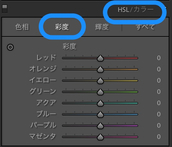 Lightroom HSL彩度
